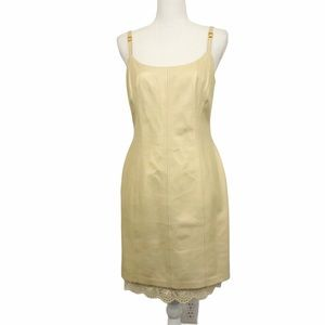Escada 100% Lamb Leather Dress Lace Trim Size 38